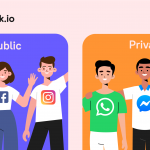 Public Vs. Private Social Network. PEOPLE WAVING AND SMILING. TWITTER, FACEBOOK, INSTAGRAM, WHATSAPP, FACEBOOK MESSENGER, TELEGRAM.